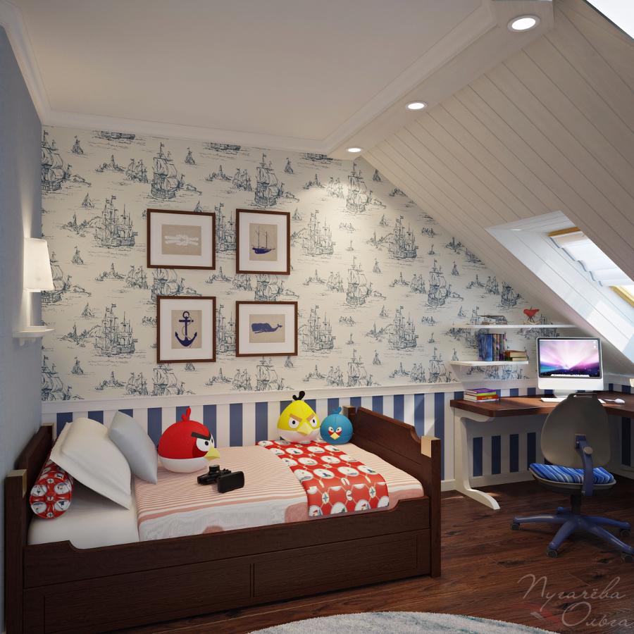 Дизайн детской для мальчика мансардный этаж