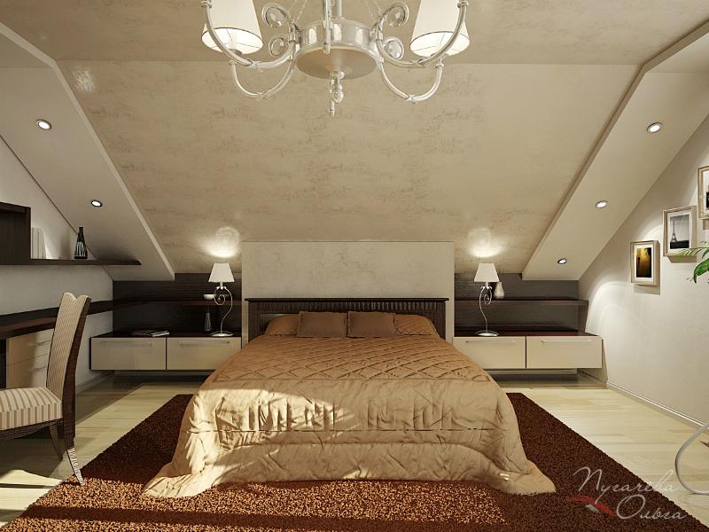 Дизайн спальни с мансардой