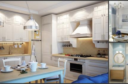 Однокомнатная квартира в морском стиле