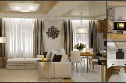 Гостиная- кухня в эко-стиле