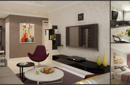 Квартира в современном стиле с яркими акцентами